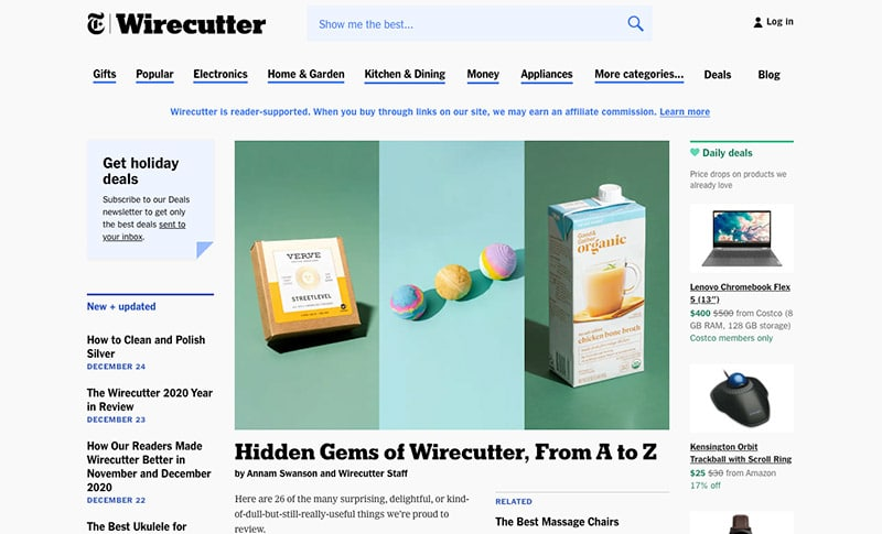 Affiliate Marketing Example - Wirecutter