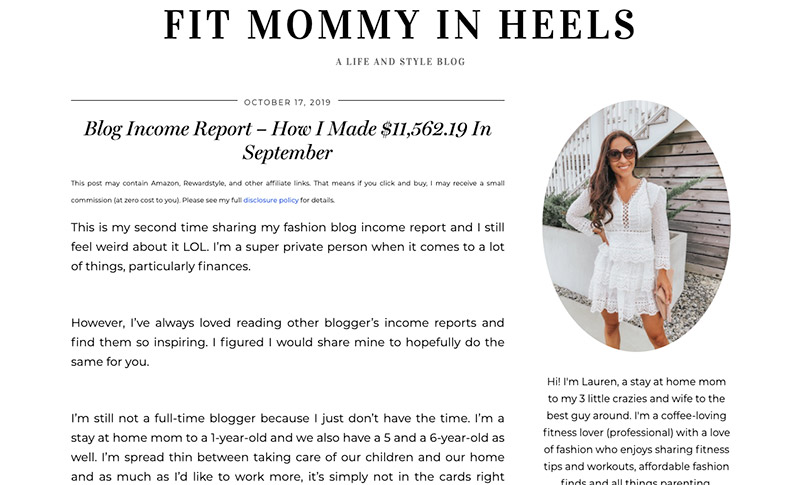 Sponsored Post Example - Fit Mommy in Heels